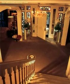 Coming down staircase looking at front door....Graceland....except during the tour you are not allowed upstairs