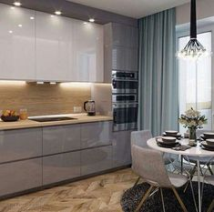 Luxury Kitchen - Regardless of whether you're planning for a move to another house or you essentially need to a kitchen redesign, these astounding kitchen Minimalist But Luxurious Kitchen Design thoughts will prove to be useful. Kitchen Room Design, Kitchen Cabinet Design, Home Decor Kitchen, Kitchen Living, Interior Design Kitchen, Kitchen Ideas, Room Interior, Kitchen Lamps, Kitchen Nook