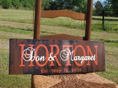 Personalized Family Name Sign Wedding Est Sign by Hawkinscreations, $35.00