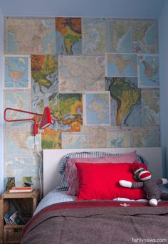 Vintage Map Accent Wall.