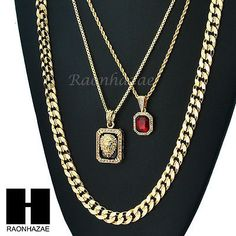 "MEN ICED OUT RUBY LION DIAMOND CUT 30"" CUBAN LINK BOX ROPE CHAIN NECKLACE SC048"