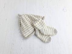 Hand knit baby set  stripe hat & socks  merino wool beanie