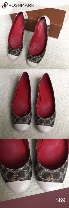 Coach BlackBrownChalk Chelsea Sig C Ballet Flats Chelsea Sig C PVC/MAT CLF in Black Brown / Chalk. In mint condition! Only worn maybe twice!  Comes in Coach box.  Size 8.5 Coach Shoes Flats & Loafers
