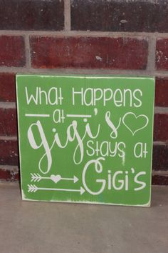 What Happens at Gigi's Stays at Gigi's, Gift for Grandma, Gigi Plaque, Handmade… Wood Pallet Signs, Wooden Signs, Grandmother Quotes, Grandma Names, Personalized Christmas Gifts, Rustic Signs, Grandma Gifts, Vinyl Projects, Baby Love
