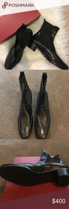 🆕Authentic Salvatore Ferragamo Black Calf Boots Never worn boots. Box included no shoe bags. 3 cm heel. Slip on. Black leather w white stitching.  Elastic fabric at calf. Wear dressy or casual. Feel free to ask additional questions. Salvatore Ferragamo Shoes Ankle Boots & Booties