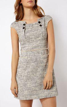 Buy Karen Millen Graphic Tweed Dress, Black/White from our Women's Dresses Offers range at John Lewis & Partners. Work Dresses For Women, Simple Dresses, Clothes For Women, Karen Millen, Dress Outfits, Fashion Dresses, Kurta Neck Design, Dress Neck Designs, Tweed Dress