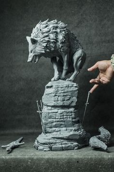 The Great Grey Wolf Sif (Dark Souls) Printed Statue Tushank K - .ArtStation The Great Grey Wolf Sif (Dark Souls) Printed Statue Tushank K - . Dark Souls Statue, Sif Dark Souls, Wolf Sculpture, Sculpture Clay, Animal Sculptures, 3d Modelle, Toy Art, Art Station, 3d Prints
