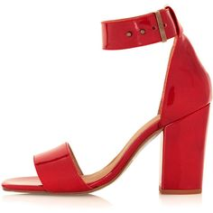 TOPSHOP RAMBLE Leather Sandals (€39) ❤ liked on Polyvore featuring shoes, sandals, heels, topshop, red, red shoes, high heel shoes, red leather shoes, ankle wrap sandals and ankle strap sandals
