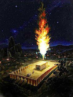 """GLORIA DE DIOS sobre el Tabernáculo en la noche.."""" EXODO 39:34-38 """"Porque la nube de Jehová estaba de dia sobre el tabernáculo, y el fuego estaba de noche sobre él, a vista de toda la casa de Israel,en todas sus jornadas""""..Éxodo 39:38 ღ✟"""