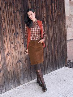 #Cord #Rock, #Karo #Bluse und #Strick #Weste by Brigitte von Boch #bevonboch #knit #skirt #waistcoat