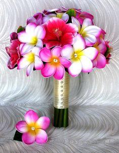 Plumerias tactiles réel et Rose Hibiscus Rose Bouquet accentués Avec Centres Crystal Clear