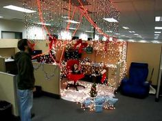 Decorating Christmas Ideas For The Office Christmas Cubicle Decorations, Diy Christmas Lights, Christmas Decorations For The Home, Christmas Themes, Holiday Decor, Merry Christmas, Christmas Chair, Blue Christmas, Office Decorating Themes