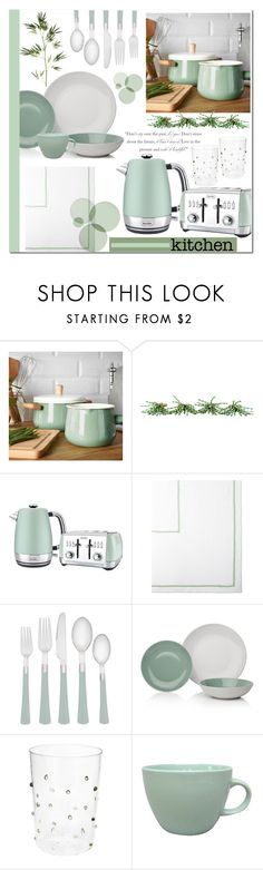 """The Green Kitchen"" by brendariley-1 ❤ liked on Polyvore featuring interior, interiors, interior design, home, home decor, interior decorating, PATH, Kim Seybert, Breville and Noritake"