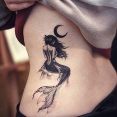 Beautiful Mermaid Tattoo Ideas For Your Mermaid Dream; Black And White Mermaid Tattoo Ideas; Band Tattoos, Ribbon Tattoos, Neue Tattoos, Body Art Tattoos, Tatoos, 4 Tattoo, Tattoo Trend, Tattoo Moon, Dark Tattoo