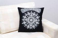 Decorative  pillow case of sparkling snowflake by ThePillowWorld