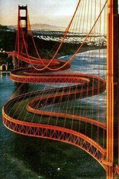 Amazing Bridge - where is this and why the need for not straight across ? Looks like an Amazing photoshop of the Golden Gate Bridge in San Francisco. Classification Des Arts, Love Bridge, Beam Bridge, Bridge Design, Suspension Bridge, Civil Engineering, Covered Bridges, Amazing Architecture, Modern Architecture