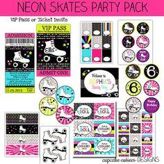 Neon Skates-  Roller Skating Party  - Digital Party Pack set  PRINTABLE on Etsy, $25.00