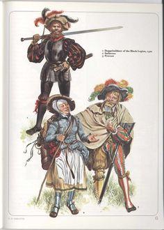 Landesknechts; Top Doppelsoldner of te Black Legion, c.1500 Bottom Sutleress & Provost