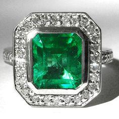 Colombian Emerald & Diamond Ring http://www.emeraldsmaravellous.com/