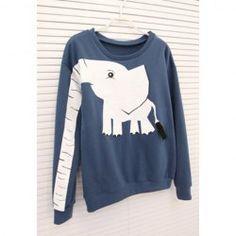 $7.86 Elephant Print Long Sleeves Color Block Sweet Style Cotton Blend Sweatshirt For Women