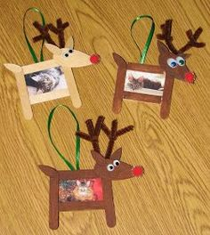 All this week we're doing reindeer crafts for school. Today we made the little photo frame ornaments pictured above. We decided to put our c...