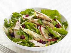 Spinach, Pear and Chicken Salad recipe from Food Network Kitchen via Food Network