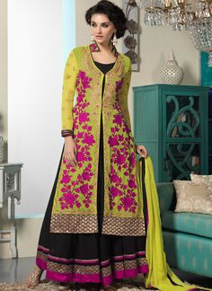 Mustard And Black Faux Georgette Anarkali Suit | Item Code: 4357