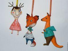 Купить мелкие подвесные звери. - комбинированный, подвесная игрушка, животные, зверята, игрушки на елку