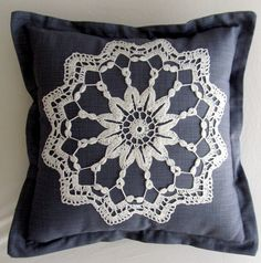 Blue-grey scatter cushion cover with white lace crochet detail and oxford borders