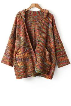 Hooded Mixed Color Cardigan