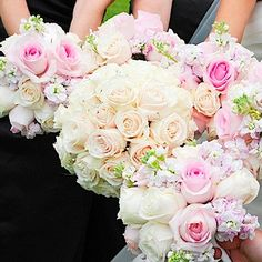Soft pink and white bouquets