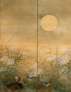 Matsumura Keibun. Quail Feeding Amidst Susuki and Kikyō. Some of the panels of a silk painting depicting quail feeding by moonlight amidst kikyō (Chinese bellflowers) and susuki (pampas grass).1830. Ink, color, gold, and silver on silk