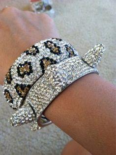 rhinestone leopard print bracelets