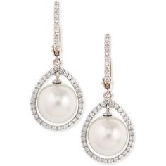 18k White South Sea Pearl & Diamond Halo Earrings - Eli Jewels found on Polyvore