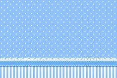 Poá Azul e Listras - Kit Completo com molduras para convites, rótulos para guloseimas, lembrancinhas e imagens! - Fazendo a Nossa Festa