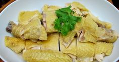 Everyone is waiting for this recipe. It looked easy by looking at the photo. It's just salted steamed chicken! Steamed Chicken, Almond Chicken, Braised Chicken, Poached Chicken, Chicken Rice, Duck Recipes, Asian Recipes, Chinese Recipes, Asian Foods