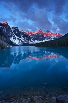 ☆ First light at Moraine Lake, Banff National Park, Alberta, Canada :¦: By Henry Liu ☆ Places Around The World, Oh The Places You'll Go, Places To Travel, Places To Visit, Around The Worlds, Rocky Mountains, Nature Pictures, Cool Pictures, Bleu Nature