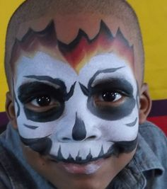 Boy Face Painting by Linda Schrenk