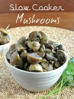 Slow Cooker Mushrooms are easy to throw together and you will feel accomplished after you see them plated up. Everybody will love them as a side dish or an appetizer.