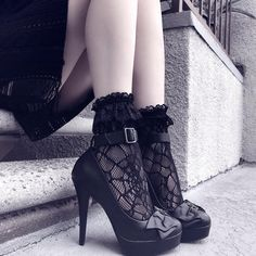 """14.7k Likes, 83 Comments - KILLSTAR (@killstarco) on Instagram: """"Perfect Mix Of Creepy And Cute; Widows Ankle Socks + Evilyn Heels [Footwear In The CLEARANCE!] 