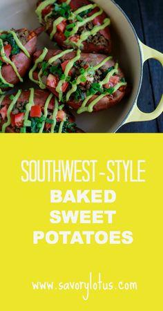 Southwest-Style Baked Sweet Potatoes |  savorylotus.com #glutenfree  #grainfree  #paleo