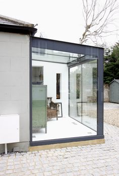 Glass Roof Extension, House Extension Design, House Design, Glass Cube, Glass Boxes, Glass Conservatory, Modern Conservatory, Glass Porch, Open Plan Kitchen Living Room