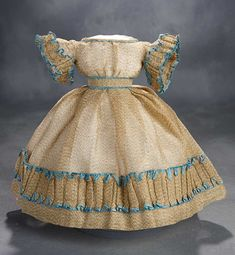 """""""What Finespun Threads"""" - Antique Doll Costumes, 1840-1925 - March 12, 2017: 52 Bengaline Silk Gown with Unusual Pagoda Sleeves and Aqua Silk Trim"""