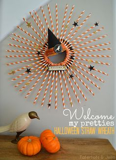 Make a Halloween Striped Straw Wreath - it's so easy!