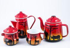 African animal silhouette tea set African Crafts, African Art, Animal Silhouette, African Animals, Sugar Bowl, Tea Set, Bowl Set, Arts And Crafts, Tableware