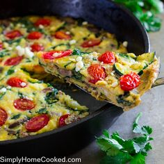 This breakfast dish is perfect for summer because it's loaded with in season produce! Frittatas are one of my favorite foods to serve when hosting brunch. All you have to do is sauté your favorite vegetables and/or bacon in an oven safe skillet, toss in some whisked eggs and pop it in the