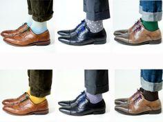 Moda Masculina:Por favor, jogue fora as suas meias branca, veja abaixo algumas variações.Não precisa ser apenas meias pretas, azuis ou grafite. Isso era no tempo do seu avô.