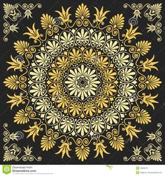 Buy Vector Floral Gold Greek Ornament by Kavalenkava on GraphicRiver. Traditional vintage golden floral Greek ornament on a black background. More backgrounds, ornaments, seamless pattern. Pattern Images, Pattern Art, Mandala Pattern, Ornament Pattern, Greek Pattern, Islamic Art Pattern, Magic Design, New Media Art, Magic Art