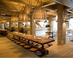Pizza East, London Respecting the building's industrial roots, the pizzeria kept and even accentuated its original concrete walls and exposed beams, pipes, and pillars. Steel refectory tables and oversized pendant lamps add a fresh, contemporary edge.