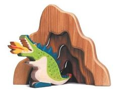 Recreate your child's favorite fairy tale with these wooden characters from Holztiger.   This green wooden dragon would be a wonderful addition to imaginative play with some of the other fairy characters such as the princess and the knights.     http://www.moolka.com/jzv/prod/9135/Holztiger/Toys/Figures+and+Play-sets/Fairy+Tale+Figures/Dragon%2C+Green?p=c3E9RHJhZ29u